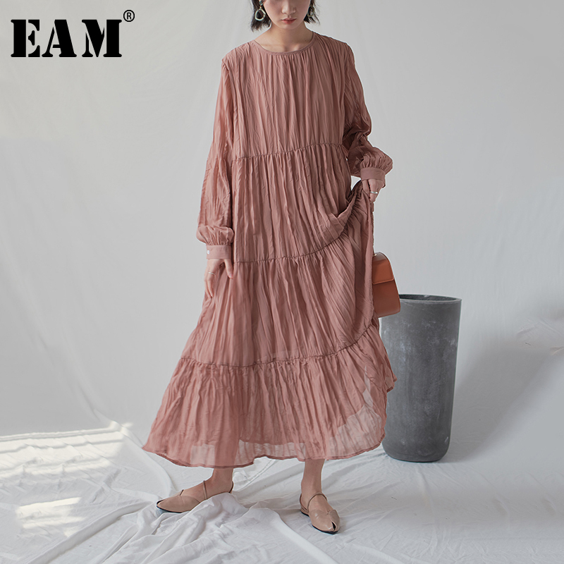 [EAM] 2020 New Spring Autumn Round Neck Long Sleeve White Loose Long Pleated Chiffon Cake Long Dress Women Fashion Tide JR170