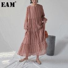 [EAM] 2020 חדש אביב סתיו עגול צוואר ארוך שרוול לבן Loose ארוך קפלים שיפון עוגת ארוך שמלת נשים אופנה גאות JR170