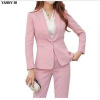 Для женщин 2 шт. пиджак в деловом стиле костюм комплект Slim Fit Professional женский с длинным рукавом брюки костюмы модные женские офисные Рабочая о