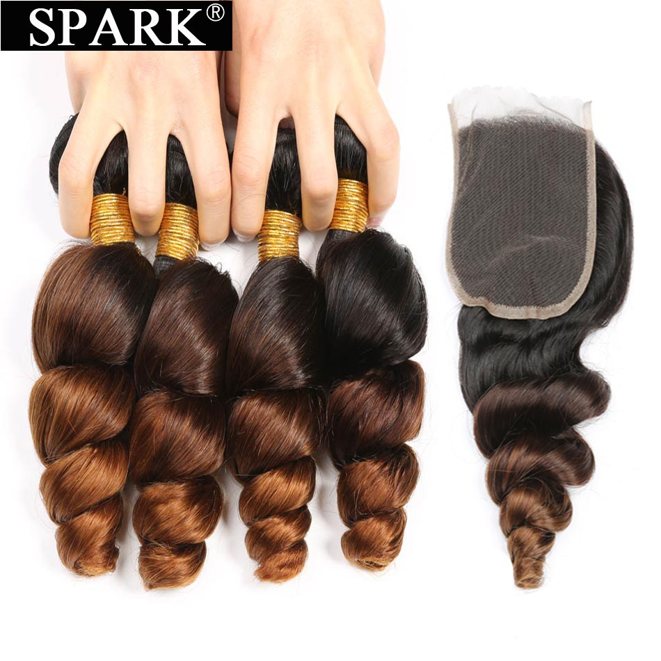 Ombre Peruvian Loose Wave Bundles with Closure 1B 4 30 Free Part Spark Remy Hair Extension