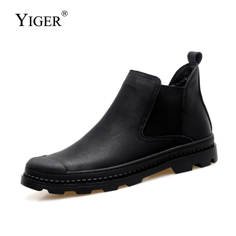 YIGER New Men Chelsea Boots Genuine Leather Man Ankle boots Winter with fur Slip on Martins