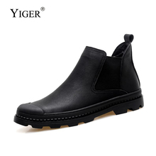 YIGER New Men Chelsea Boots Genuine Leather Man Ankle boots Winter with fur Slip-on Martins boots male casual shoes black   0200 northmarch men winter boots casual genuine leather business man shoes flat heel ankle boots for male comfortable orange boots