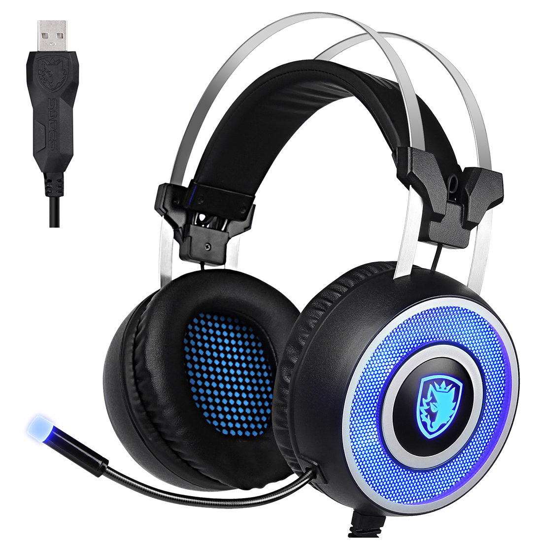 SADES A9 Gaming Headset,USB Over Ear Gaming Headphones with Microphone ,7 colors Breathing LED Lighting for PC(Black and Blue) each g1100 shake e sports gaming mic led light headset headphone casque with 7 1 heavy bass surround sound for pc gamer
