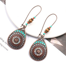 2019 Vintage Water Drop Shape Earrings Bohemian Alloy Geometric Pattern Boho Style Ladies Dangle Earrings