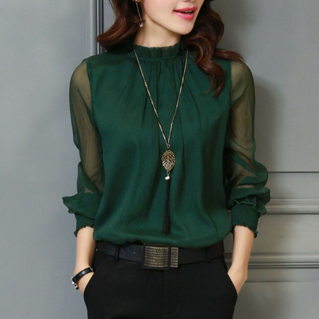 d4521cdd0 € 8.03 50% de DESCUENTO|Camisa de chifón de encaje de Primavera de verano  3XL para mujer, blusa de talla grande, camisas de cuello con soporte ...