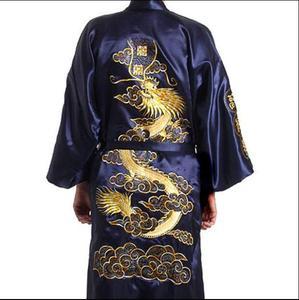 Traje de baño estilo japonés de seda satinada para hombre Bordado de dragón Kimono japonés tamaño M L XL XXL traje de baño bordado para hombre
