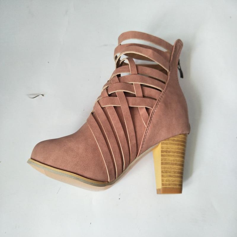 02439919 Cuero Zapatos De Mujeres Moda Para Tacones Marrón 2018 Primavera Pu rosado  Botas Diarios Otoño Altos Mujer ...