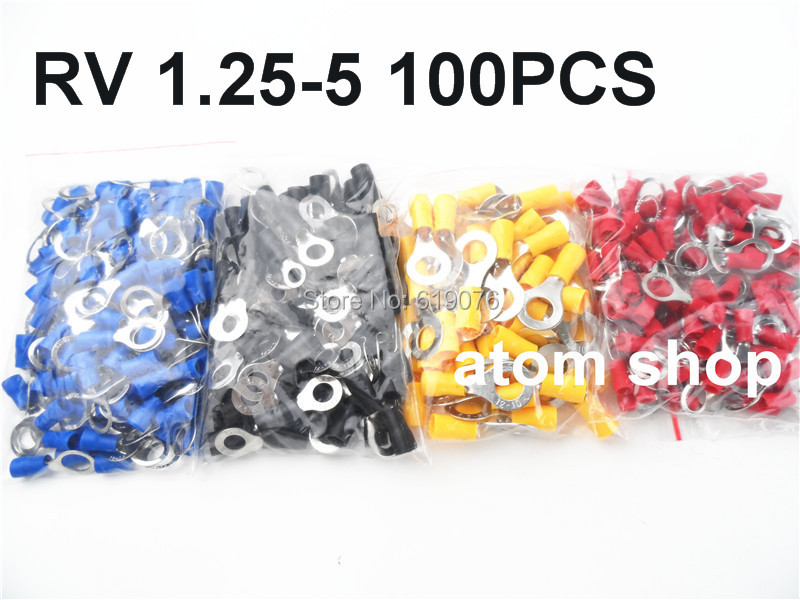 RV1.25-5 Red Insulated Crimp Ring Terminal Cable Wire Connector 100PCS/Pack RV1-5 RV 15pcs a w g 14 6 copper cable lug tube wire crimp terminal ring connector 88a