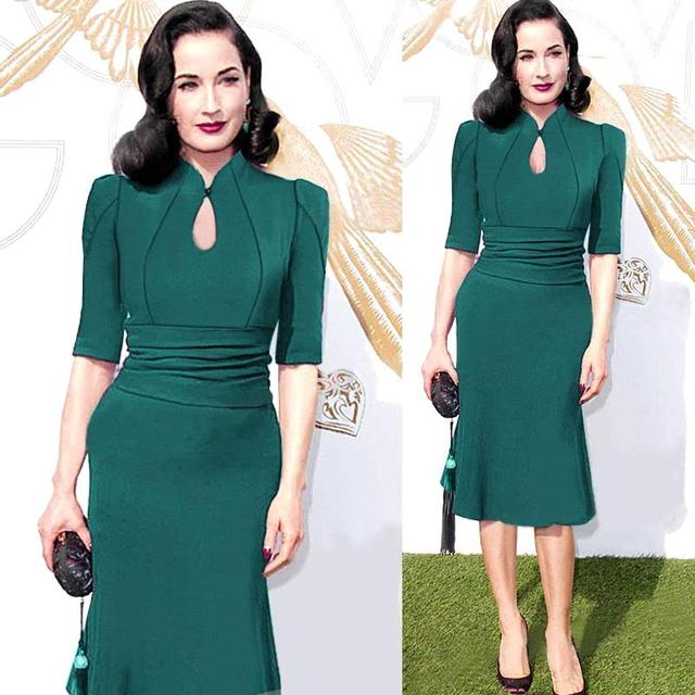 df926cd6f81 Women Vintage Retro Dress Bodycon Party Fitted Dress Plus Size Women  Clothing Club Dresses Office Work Dress Ropa Mujer