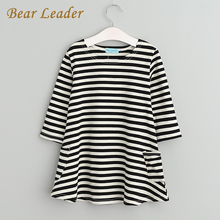 Bear Leader 2017 New Spring&Autumn Style Family Matching Outfits Mother And Daughter Fall Full Black Striped Dress Free Shipping