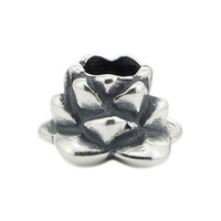 Charms 925 Sterling Silver Bright lotus Antique Making Bead Fit Vintage Charm European Style Jewelry DIY Bracelet Necklace