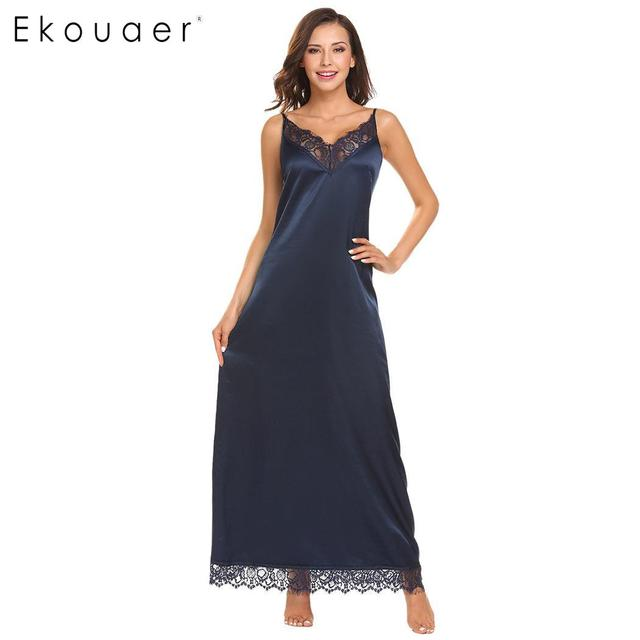 Ekouaer Satin Nightgown Women Spaghetti Strap Long Nightdress Solid V-Neck  Lace Trim Camisole Chemise Nightwear Dress Homewear 663887eb7