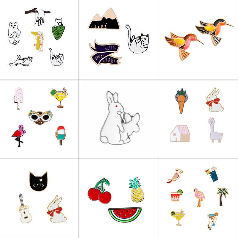 1-7 ชิ้น/เซ็ตสัตว์ผลไม้ Flamingo ตลกแมวกระต่าย Pins การ์ตูนเข็มกลัดผู้หญิง Denim แจ็คเก็ต Lapel Pin badge เครื่องประดับ