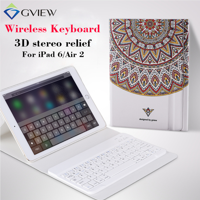 for iPad 6/air 2 Tablet Case with Wireless Keyboard 3D Relief Paint Leather case Cover Protective Stand cases for iPad air 2 9.7