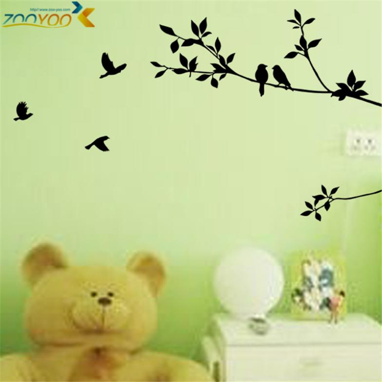 % Cartoon diy birds on branches tree wall decals home decorative wall sticker bedroom kids room car vinyl stickers Art Poster