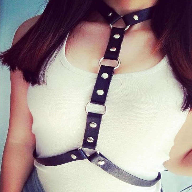 KMVEXO 2019 New Body Leather Harness Bondage Statement Necklaces Women Beach Collar Goth Choker Shoulder Necklace Party Jewelry