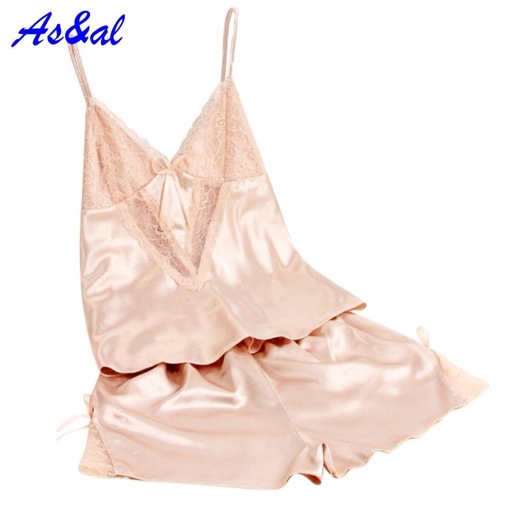 Women Sexy Summer Pajamas Silk Pijamas Pyjama Minion Sleepwear Deep V Sleeveless Suspenders Lingerie Set