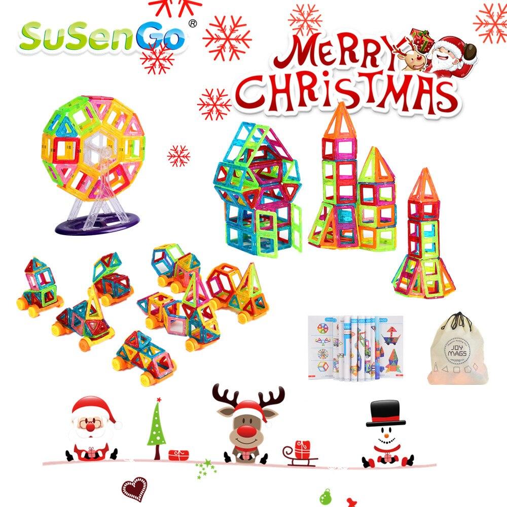 Susengo мини размер 40/60/80/90 шт. Магнитный конструктор здания Конструкторы кирпичи 3D конструкция Игрушечные лошадки для детей детские Рождественский подарок