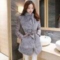 Mulheres Jaqueta de inverno Pele De Coelho Fino Casaco de Inverno Quente Longo Elegante Outwear Cinza/Preto Cor Parkas Plus Size M L XL 2XL 3XL