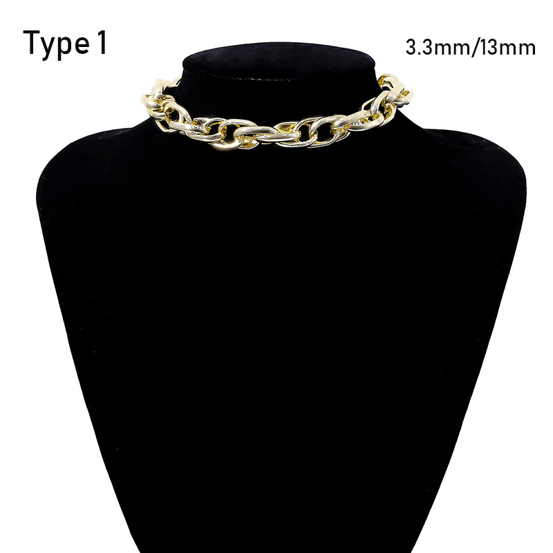 SHIXIN Punk Exaggerated Heavy Metal Big Thick Chain Choker Necklace Women Goth Fashion Night Club Jewelry Female Chocker Collier 5