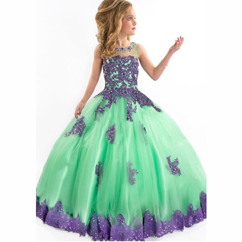 все цены на 2018 Flowers Wedding Formal Pageant Party Dress for Kids Girls Diamond Long Lace Tulle Ball Gown Prom Princess Dresses GDR206 онлайн