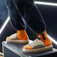 Men Slippers New kanye fashion west Summer Flat Sandals Beach Flip Flops outdoor Slippers Shoes Men Slides Soft Sole Slippers