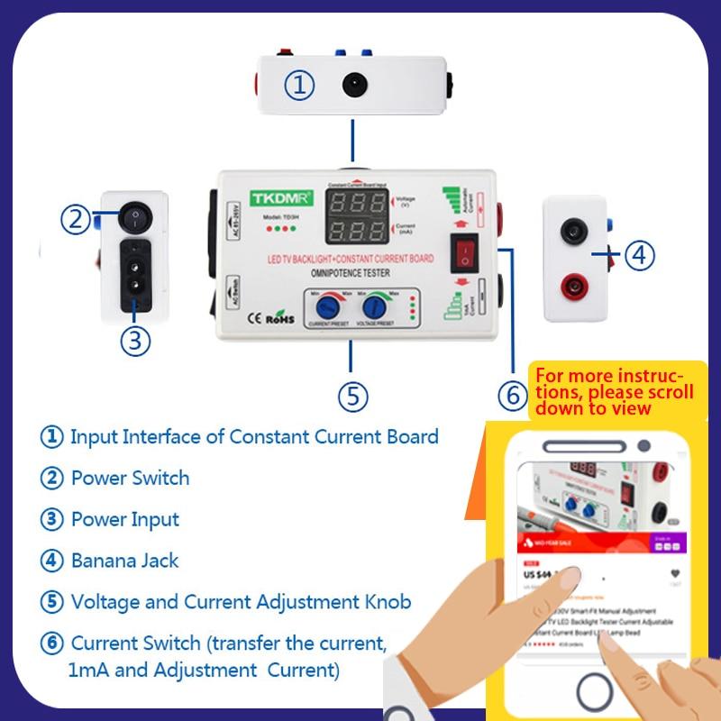 TKDMR 0 330V Smart Fit Manual Adjustment Voltage TV LED Backlight Tester Current Adjustable Constant Current Board LED Lamp Bead in Voltage Meters from Tools