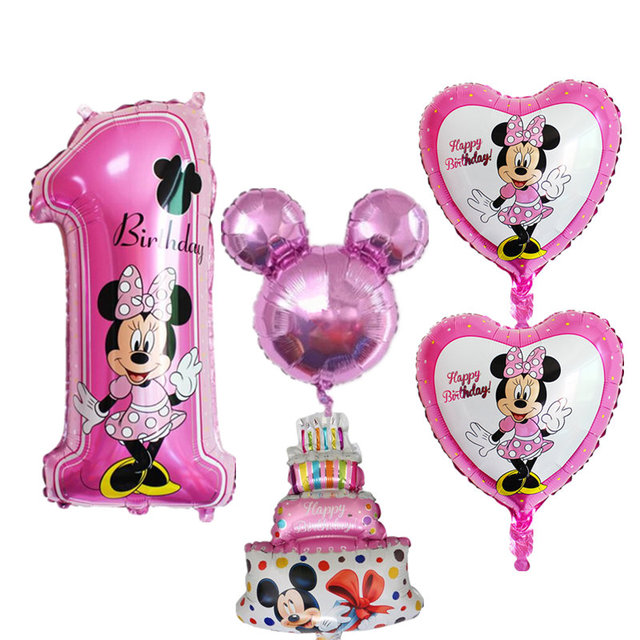 5 Teile Satz 1th Baby Happy Birthday Balloons Anzahl 1 Mickey Minnie Geburtstag Dekoration Folie