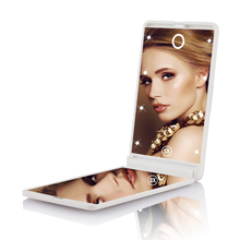 Portable Foldable 3X Magnifying Compact Pocket Cosmetic Mirror Makeup Mirror With Illumination 2 Sided 8 LED Travel Mirror
