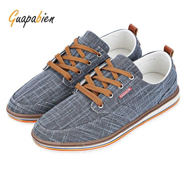 de1cb86cf1 Guapabien Cinza Homem Sapatos Casuais Cor Pura de Linho Masculino  Respirável Sapatos de Lona Homens Moda