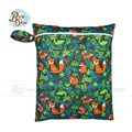 Babyshow Reusable 30*40cm Wet Bag PUL Waterproof Cover Digital Printed Bolsa Mojada Zipper Button Double Pocket Nappy Wet Bag