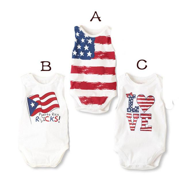3 Pcs Por Atacado Bodysuits Do Bebê Recém-nascido Meninos Meninas Sem Mangas Colete Bodysuits V20 Teste Padrão Da Bandeira Macacão Escalada Roupas de Verão