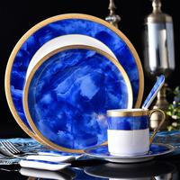 European Emboss art Style Ceramic Tableware Set Home Hotel Romantic Dining Table Dinner Service Steak Plate With Cup Saucer
