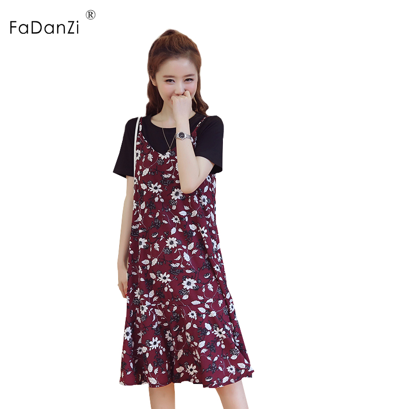 2018 summer new pregnant women dress chiffon color in the long paragraph dress skirt pregnant women clothing pregnancy two-piece купить недорого в Москве