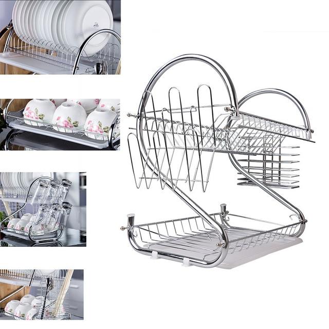 Multi-function Stainless steel bowl rack Double layers shelf drain bowl Rack Cup Chopsticks holder Kitchen Storage Organization