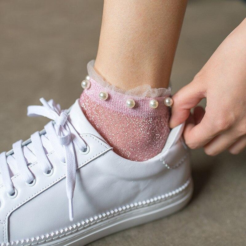 2019 Summer Fashion Female Socks Womens Silver Silk Pearl Socks Ladies Crystal Calcetines Crystal Short Socks Thin Crystal Socks