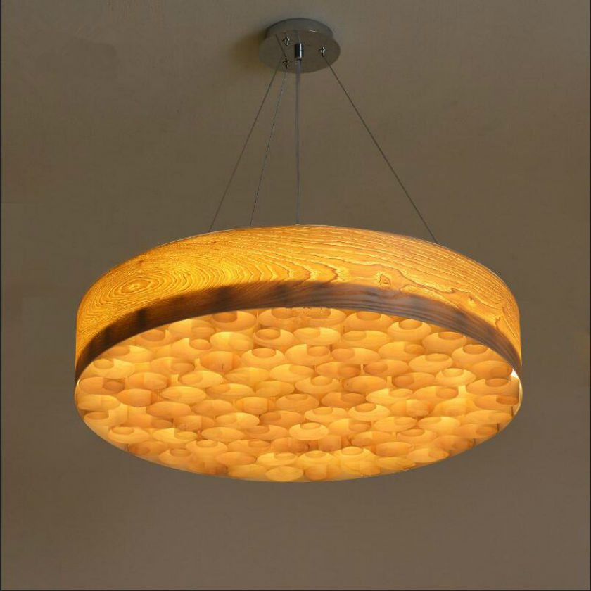 Southeast Asian Chinese style wood lamp round LED absorb dome light dia 50/60cm individuality wood bark pendant lamps 110v-260v bamboo southeast asian chinese restaurant led lamp wood engineering ceiling wooden lamp light hotel pendant lights za zb32