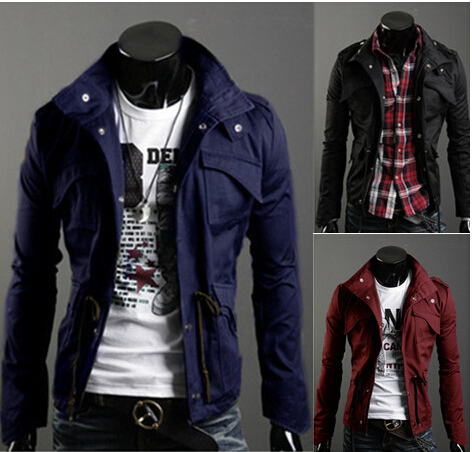 Hot Sale !Free Shipping New Slim Sexy Top Designed Mens Long Sleeve Stand Collar Jacket Coat Outwear