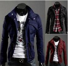 Heißer Verkauf! freies Verschiffen Neue Dünne Reizvolle Entworfene Mens Langarm Stehen Kragen Jacke Mantel Outwear