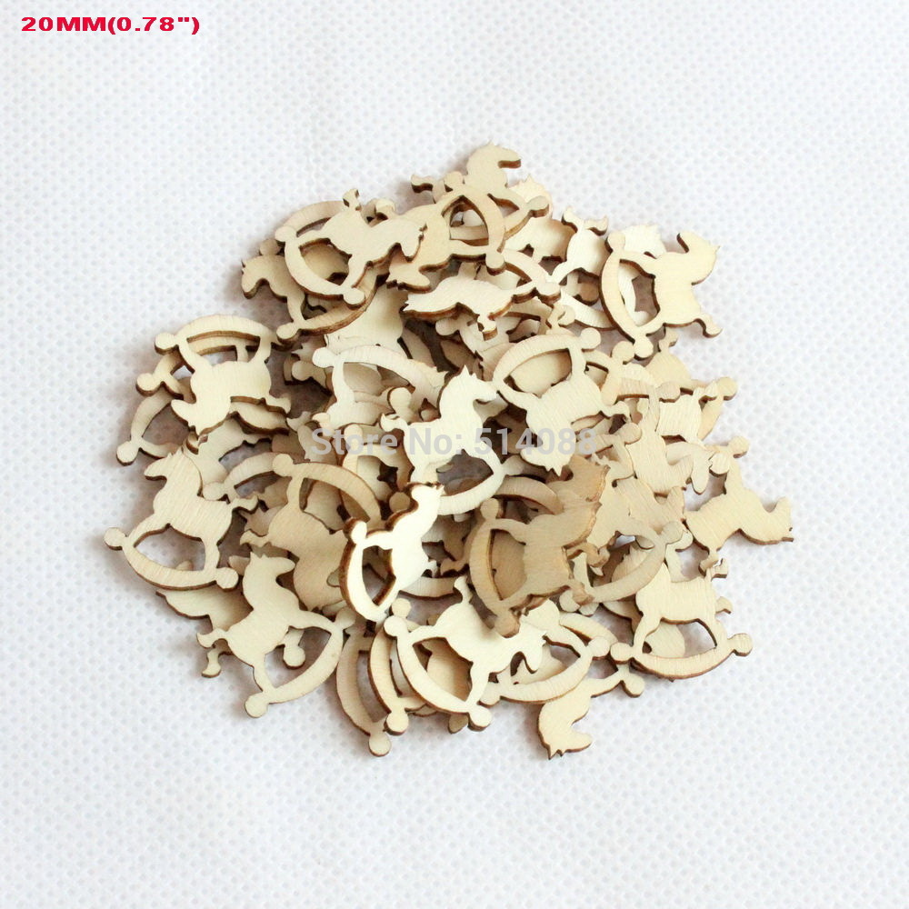 Small wooden christmas tree ornaments -  150pcs Set 20mm Plain Natural Wooden Christmas Ornaments Scrapbook Embellishment Small Horse 0 8