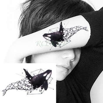 Waterproof Temporary Tattoo whale shark dolphin paper folding art tatto stickers flash tatoo fake tattoos for girl women kid