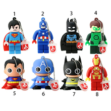Usb Flash Drive Nueva Pen Drive superhero vendicatore/Superman/Batman/Iron man pendrive 16 GB 32 GB 64 GB del fumetto pen drive migliore regalo(China)
