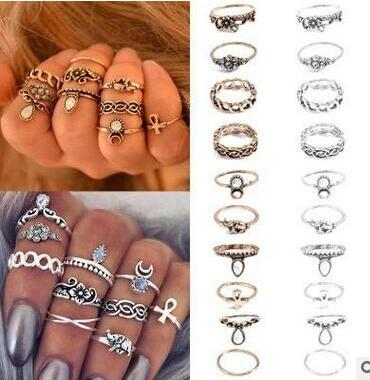 10 Pcs/Set Bohemian Vintage Tibetan Silver Elephant Carved Flowers Water Drop Gem Rings Knuckle Rings Anel Joint Rings Set Women
