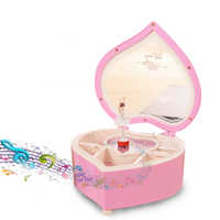 Ballerina musical boxes peach heart shaped jewelry storage box girl gift crank mechanism rotating power game music box