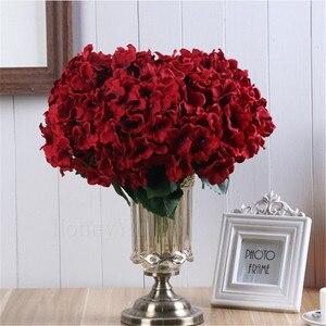 Image 3 - הידראנגאה פרח מזויף אדום פרח הידראנגאה מלאכותי משי DIY פרח אבזר קישוט החתונה מסיבת הבית
