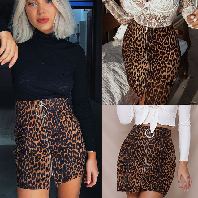 31afedaf4f26e New Sexy Women's Leopard Printed Mini Skirt Fashion High Waist Mini Skirt  Pencil Bodycon Hip Short