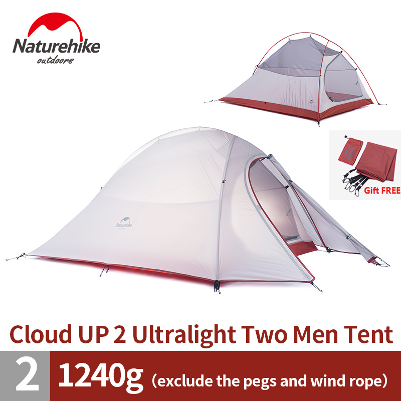 DHL free shipping 2 Person NatureHike Tent 20D Silicone Fabric Double-layer Camping Tent Lightweight Only 1.24kg NH