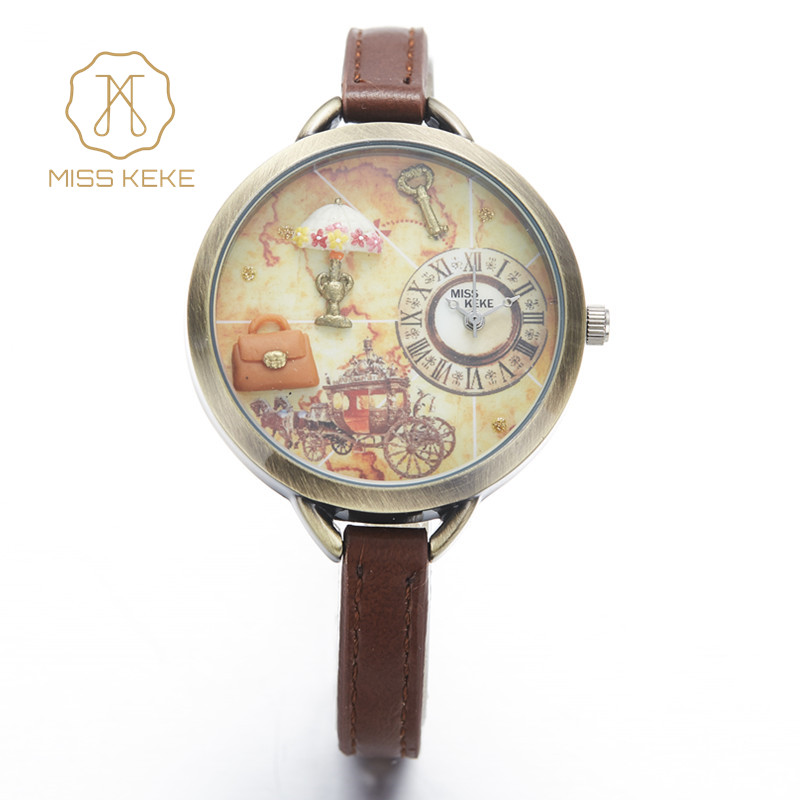 Fröken Keke Girls Kids Klockor Clay Mini Word Flower Läderrem Armbandsur för Student Cartoon Quartz Watch Montre Enfant 881