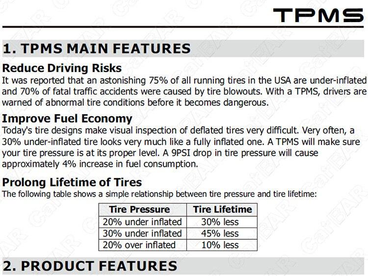 tpms for truck menu