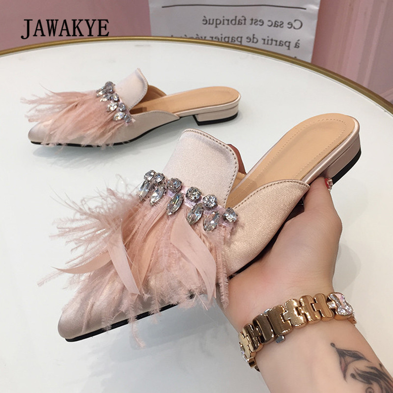 2018 Feather Luxury Satin Slipper Women Pointed Toe Rhinestone Flat Shoes Woman Fashion Gladiator Sandals